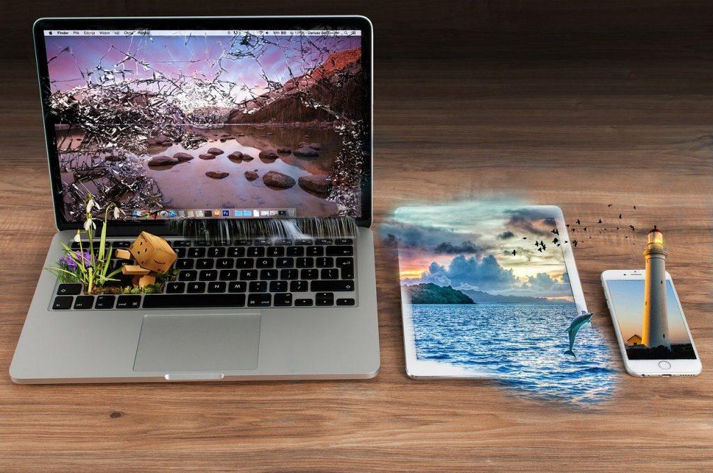 arrière plan, les eaux, ordinateur