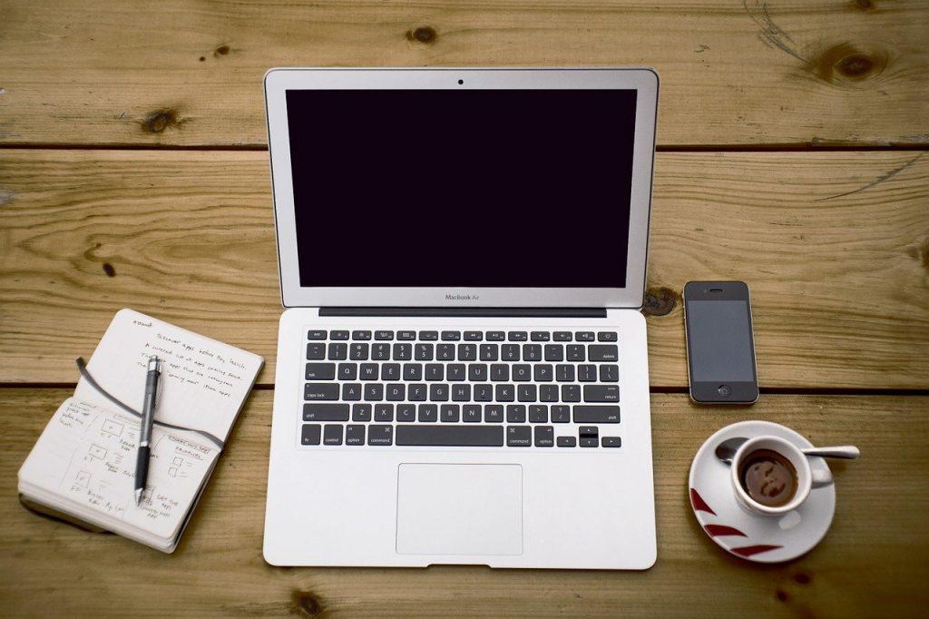 ordinateur portable, espace de travail, bureau